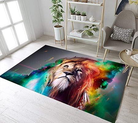 LB Animal Tema Leon Alfombra de Salón Leo en Galaxy Colorido ...