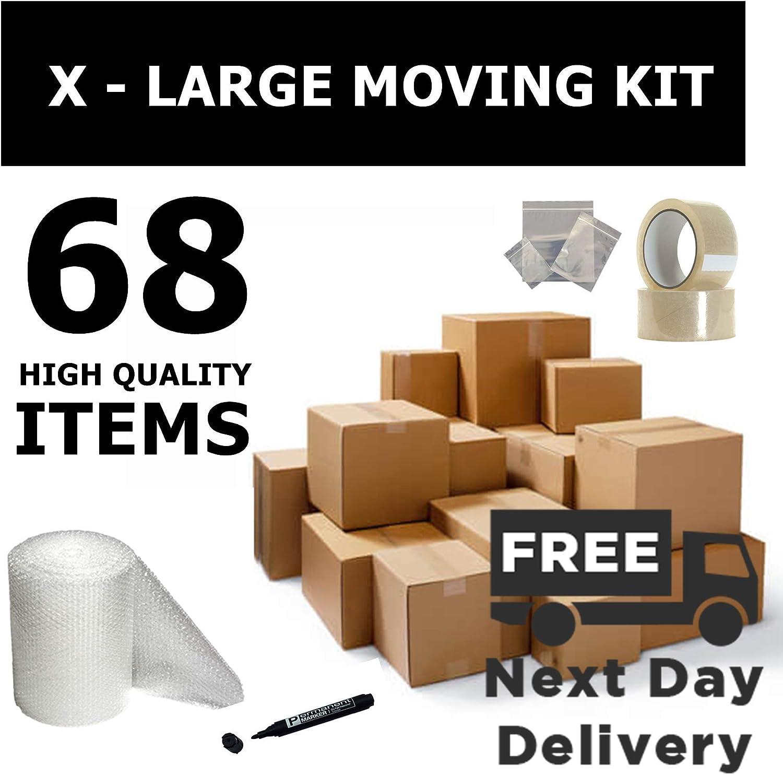 Cajas de cartón para mudanza de casa, para envíos postales, kit XL, 68 artículos: Amazon.es: Oficina y papelería