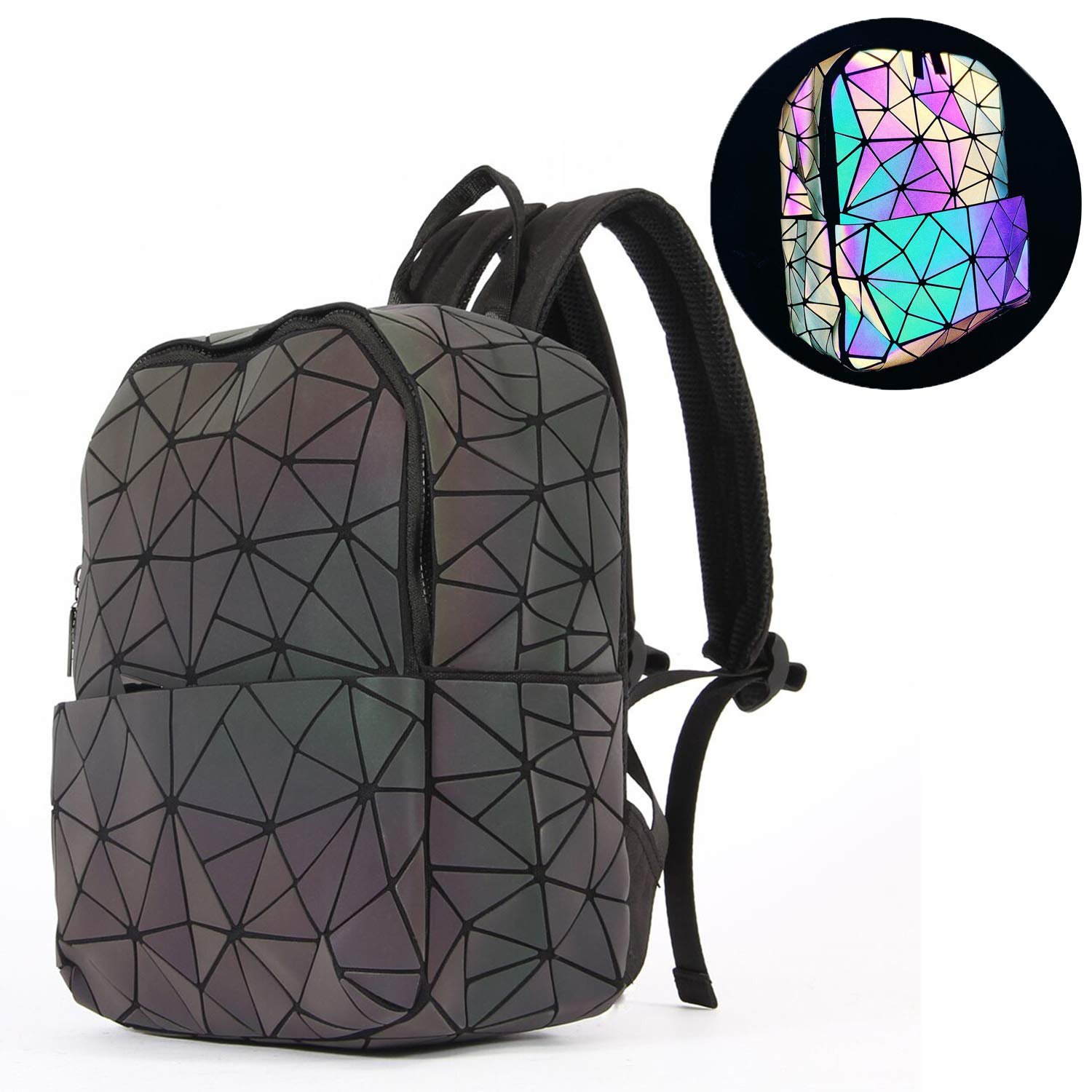 Harlermoon Geometric Luminous Holographic Purses and Handbags Flash Reflactive Tote for Women … (Small Backpack)