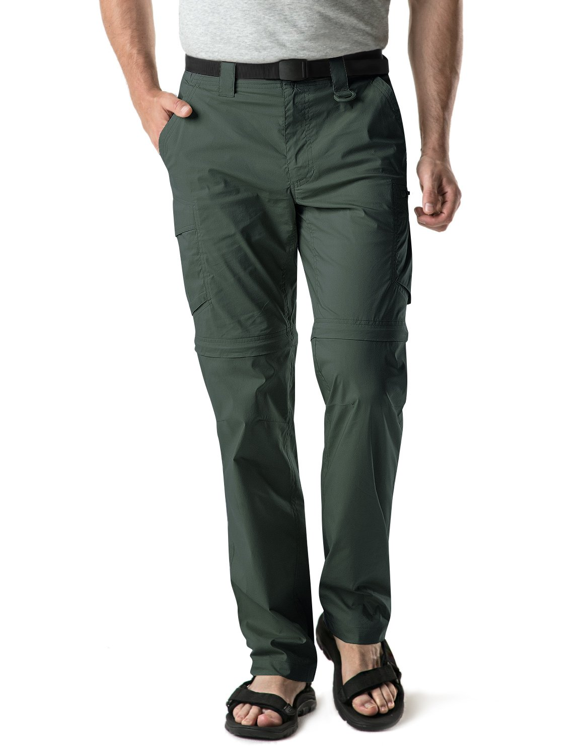 CQR Men's Convertible Pants Zipp Off Stretch Durable UPF 50+ Quick Dry Cargo Shorts Trousers, Convertible Zip Cargo with Belt(txp402) - Green, 32W/30L by CQR