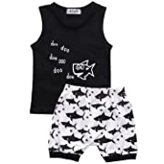 Baby Boy Girl T-Shirt Clothes Shark and Doo Doo Print Summer Cotton Sleeveless Outfits Set Tops and Short Pants (6-12 Months)