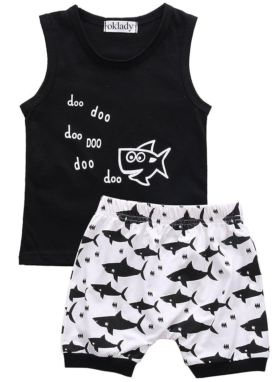 Baby Boy Girl Clothes Shark and Doo Doo Print Summer Cotton Sleeveless Outfits Set Tops and Short Pants oklady