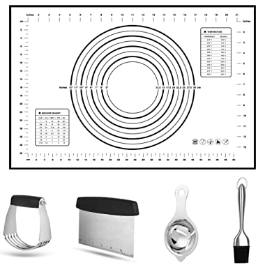 Pastry Cutter Set,Vermida 5 Pack Stainless Steel Pastry Scraper Set, Professional Dough Cutter Scraper Blender Set,Heavy Duty Pastry Scraper and Dough Blender,Baking Dough Tools for Kitchen Baking