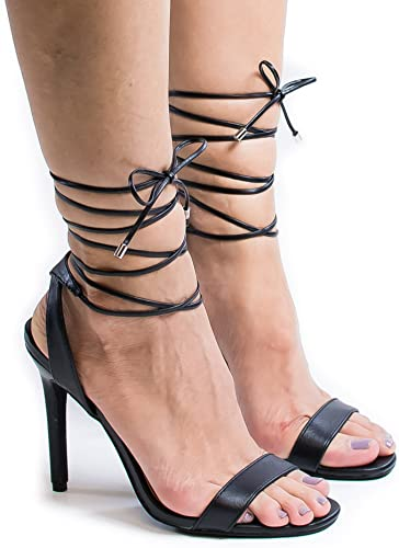 info for good out x new appearance Amazon.com | Swagger01L Black Open Toe Leg Wrap Around Stiletto ...