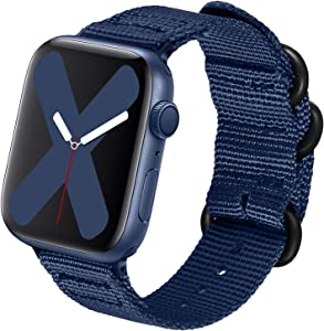 nylon Band Compatible with Apple Watch Band 44mm 42mm 40mm 38mm, Lightweight Breathable Woven Nylon Sport Wrist Strap with Metal Buckle Compatible 5/4/3/2/1 (6-Navy blue, 38mm/40mm)