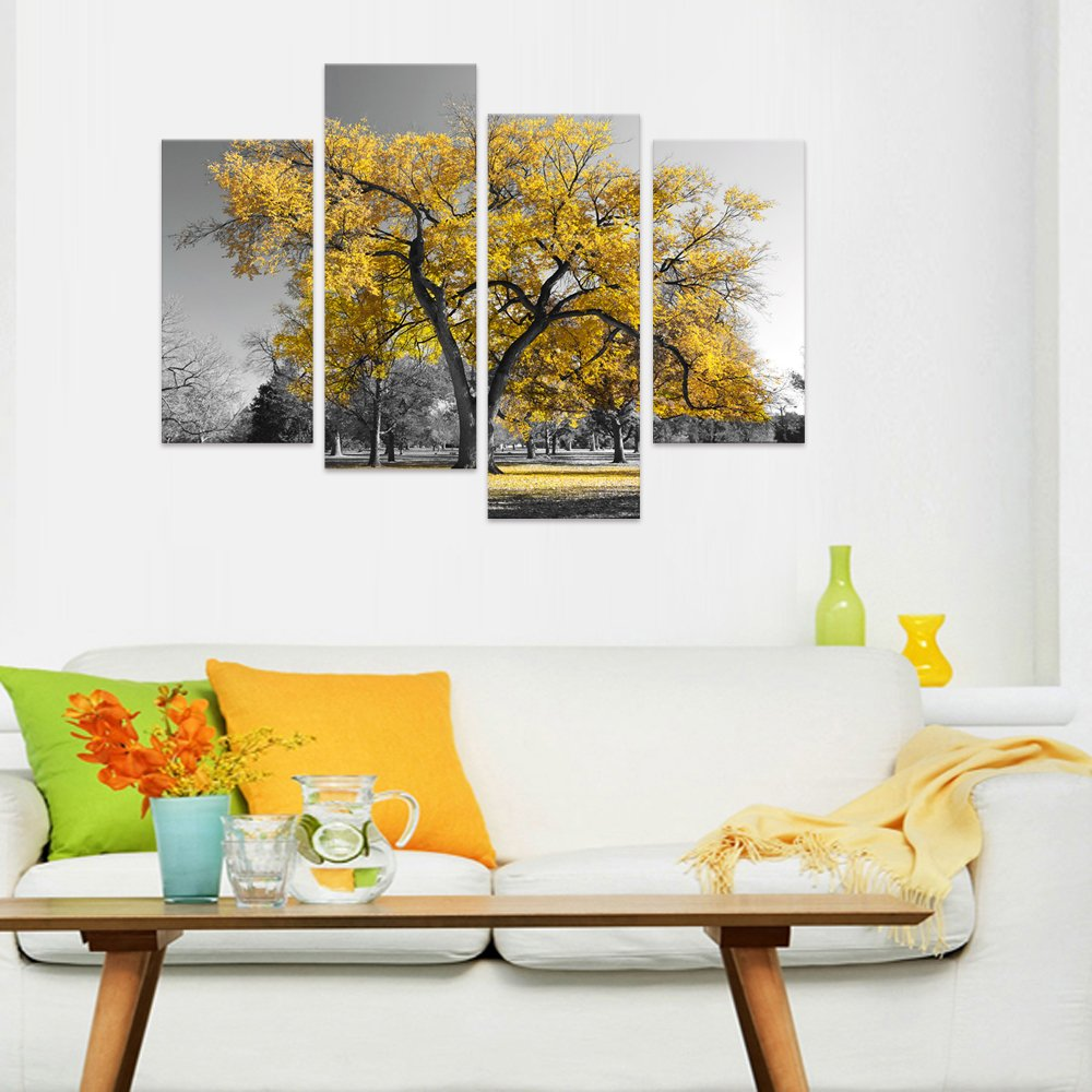 Visual Art Decor Modern Black and White Canvas Wall Art Giclee Prints Autumn Landscape Yellow Tree Wall Decor Art Nature Picture Living Room Decor Art Ready to Hang Gold Tree