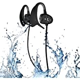 Waterproof Bluetooth Sport Wireless Headset IPX8 Headphones CSR Sweatproof Stereo Earphones Suit for exercise BT4.1Bluetooth Earbuds with Mic-BLACK
