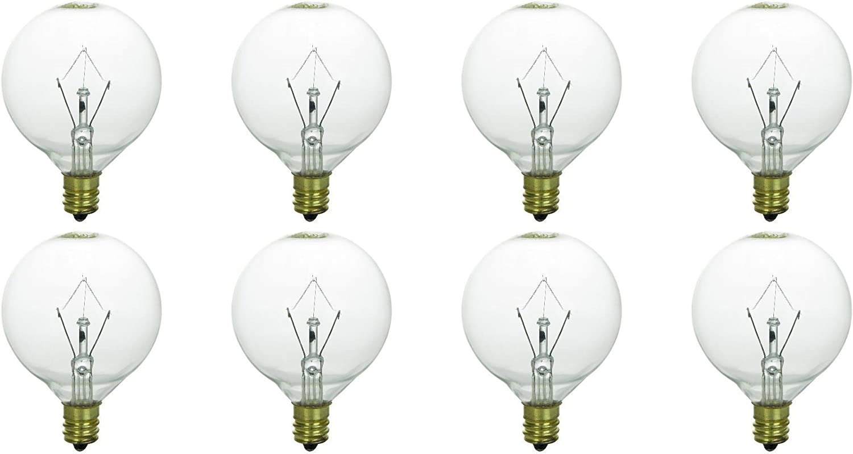 Memotronics 25 Watt Bulbs for Scentsy Full-Size Warmers, KE-25WLITE Extra Long Life, 25W 120 Volt, Pack of 8