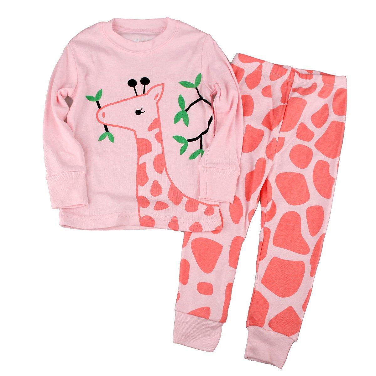 Gold treasure Little Kids Sleepwear Long Sleeve Pajama Set with Cartoon Pink Giraffe