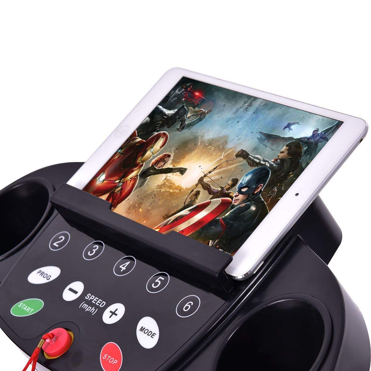GYMAX Folding Exercise Treadmill Fitness Electric Treadmill Electric Motorized Power Fitness Running Machine 800W W/IPAD Mobile Phone Holder (Black) by GYMAX (Image #2)