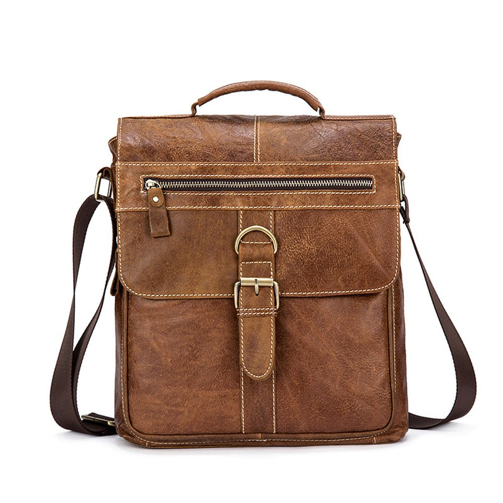 BAIGIO Genuine Leather Messenger Bags Briefcase Cross-body Causal Satchel (Brown-1)