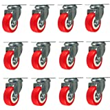 Online Best Service 12 Pack Caster Wheels Swivel Plate Casters On Red Polyurethane Wheels 1,500 Lbs