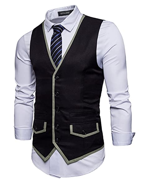 0cd285bec37e25 STTLZMC Mens Vest Contrasting Colors V-Neck Sleeveless Slim Dress Business  Wedding Blazers Suit Tops