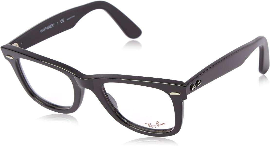 4ca55ba4d60 Amazon.com  Ray-Ban Unisex RX5121-2000 Black Frame Wayfarer Square ...