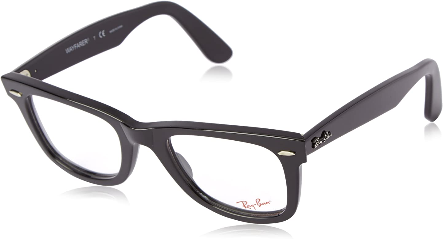 b4a21160b91c Ray-Ban Unisex RX5121-2000 Black Frame Wayfarer Square 50mm Eyeglasses