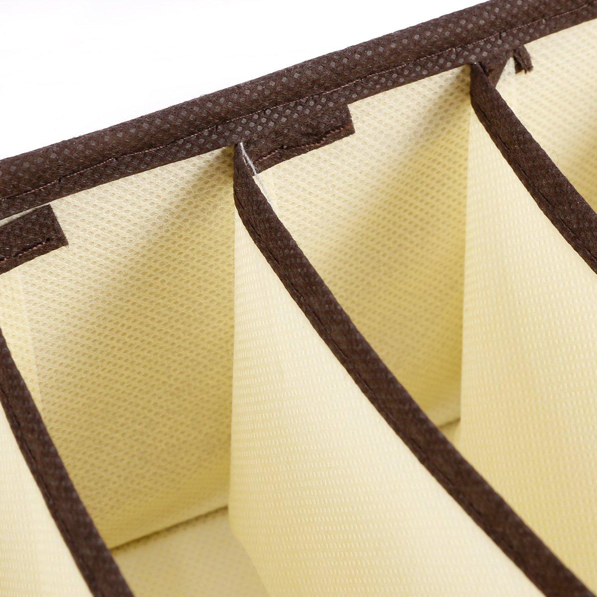 4er Set Schubladenorganizer Faltbar Aufbewahrungsboxen Beige f/ür Unterw/äsche Schals Dessous Socken und Andere Kleine Zubeh/örteile B/üstenhalter Krawatte
