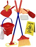 Click N' Play Pretend Play Housekeeping Cleaning Set Includes Broom Dustpan Duster Mop Collapsible Bucket Sponge & More…