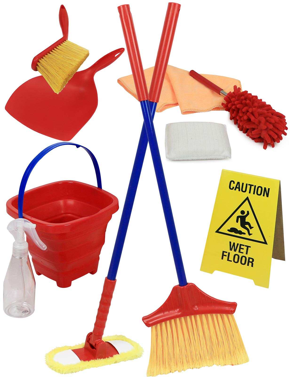 Click N' Play Pretend Play Housekeeping Cleaning Set Includes Broom Dustpan Duster Mop Collapsible Bucket Sponge & More (Set of 10) by Click N' Play