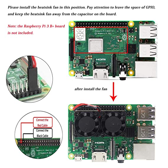 MakerFocus Raspberry Pi 3 B+ Dual Fan, Raspberry Pi Cooling Fan with 2pcs  Heatsink, for Raspberry Pi 3 B+, Ultimate Cooling and 22DBA Quiet Fan for