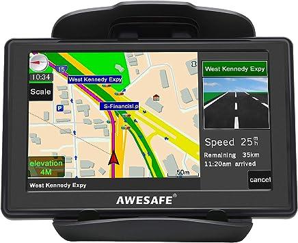 AWESAFE - Navegador GPS para coche, camión, coche, pantalla táctil de 5 pulgadas, navegación por voz, actualizaciones de mapas gratuitas con soporte para navegador: Amazon.es: Electrónica