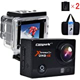 Campark ACT74 4K 30fps WiFi Ultra HD Waterproof Sports Action Camera with SONY Sensor Time Lapse Slow Motion and 2 Batteries Included
