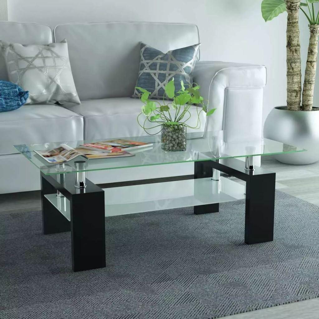 mewmewcat Tavolino da caff/è con Ripiano Inferiore 110x60x40 cm Nero