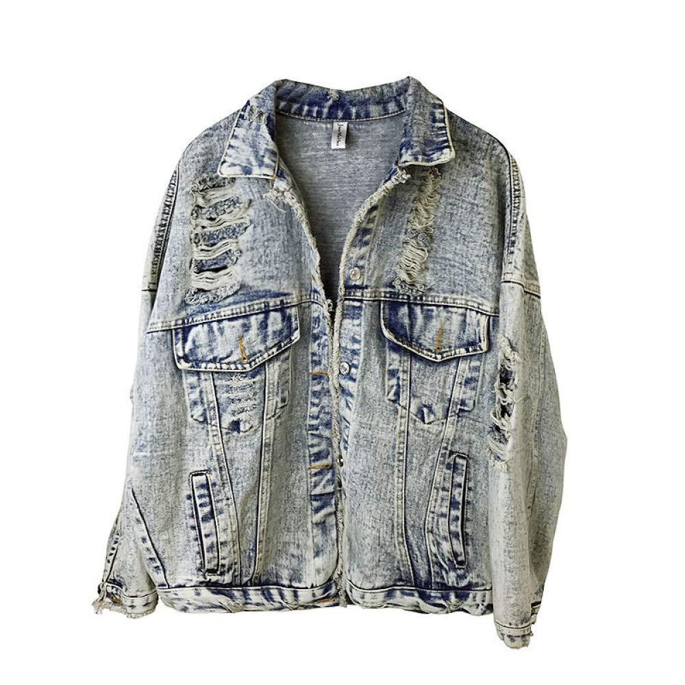 JIAKENVDE Harajuku Lose Denim Frauen Jacken Streetwear Herbst Casual Plus Größe Jeansjacke Übergroße Loch Grund Jacke