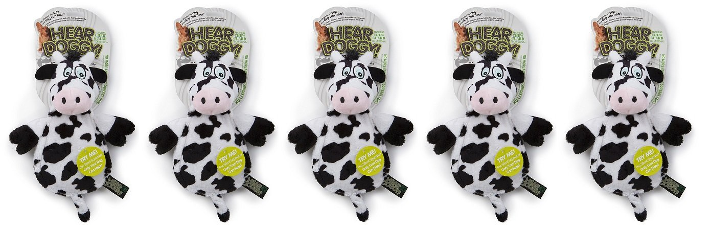 Hear Doggy Flatties with Chew Guard Technology Dog Toy, Cow (5 PACK)