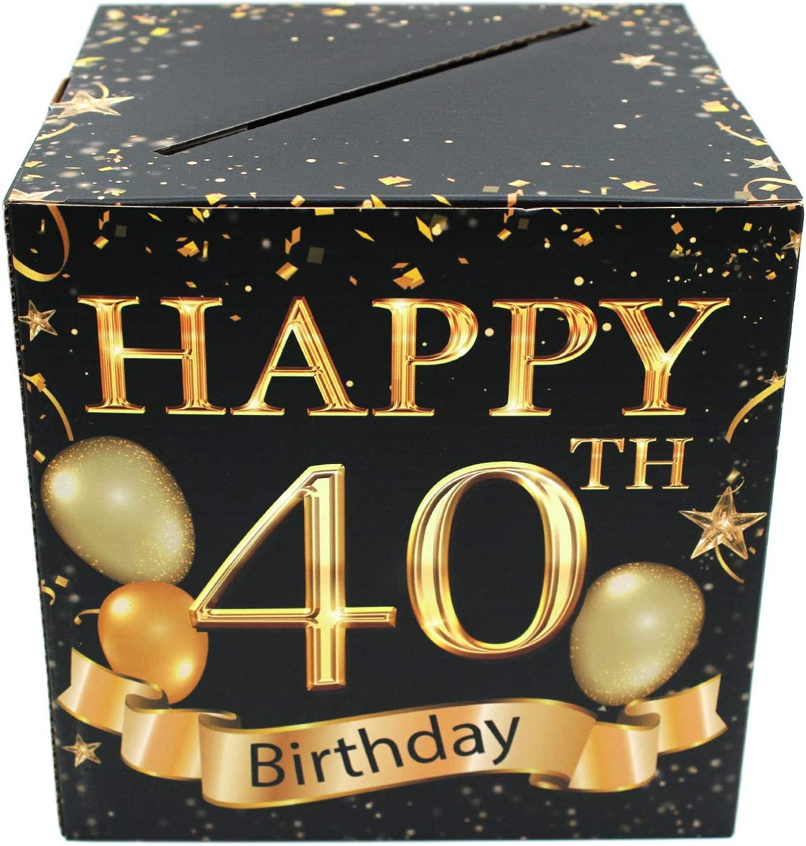 Buildinest 40th Birthday Party Decorations Box – Cheers to 40 Years, 40 Birthday Party Supplies – 1 Set(Box-40-BLK)