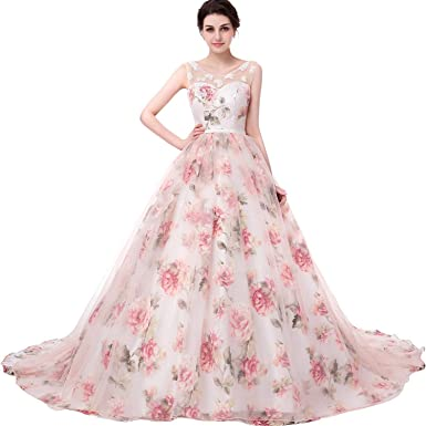 8b8a2efad17 Onlybridal Women s Tulle Flower A-Line Quinceanera Prom Dress Lace up  Corset Ball Gown Sleeveless Long Wedding Dress at Amazon Women s Clothing  store