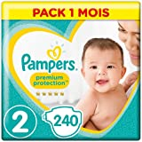 Pampers Premium Protection New Baby Size 2, 240 strati, 4-8 kg, pacchetto mensile