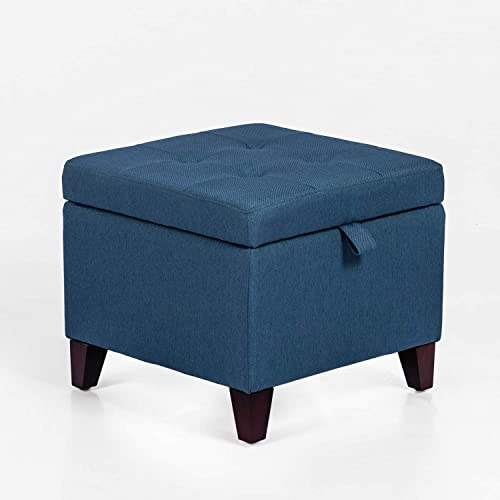 Tufted Storage Ottoman Square Footrest Stool Fabric Cube Bench with Hinged Lid Wood Legs Dark Blue