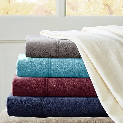 Micro Fleece Queen Bed Sheets Set, Casual Ultra Soft Bed Sheets Queen, 4