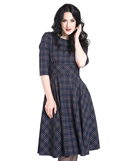 11a6c01268161 Hell Bunny Peebles 50´s Dress Medium-Length Dress Navy  Amazon.co.uk ...