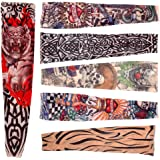 6 x Rock Fake Tattoo Arms / Legs Stockings Sleeves Stretch Temporary Funky Fancy Dress Costume Novelty Designs (disfraz)