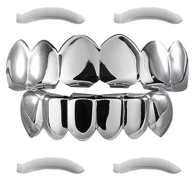 Amazon.com: Parrillas dentales con baño de oro blanco ...