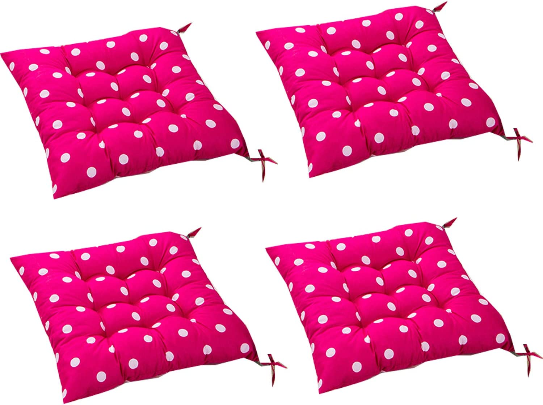 4 cómodos cojines cuadrados para silla (lunares), tapicería para exteriores, cojines para patio, cocina de jardín, cojín para silla de comedor 40x40x8 cm (Rosa roja)