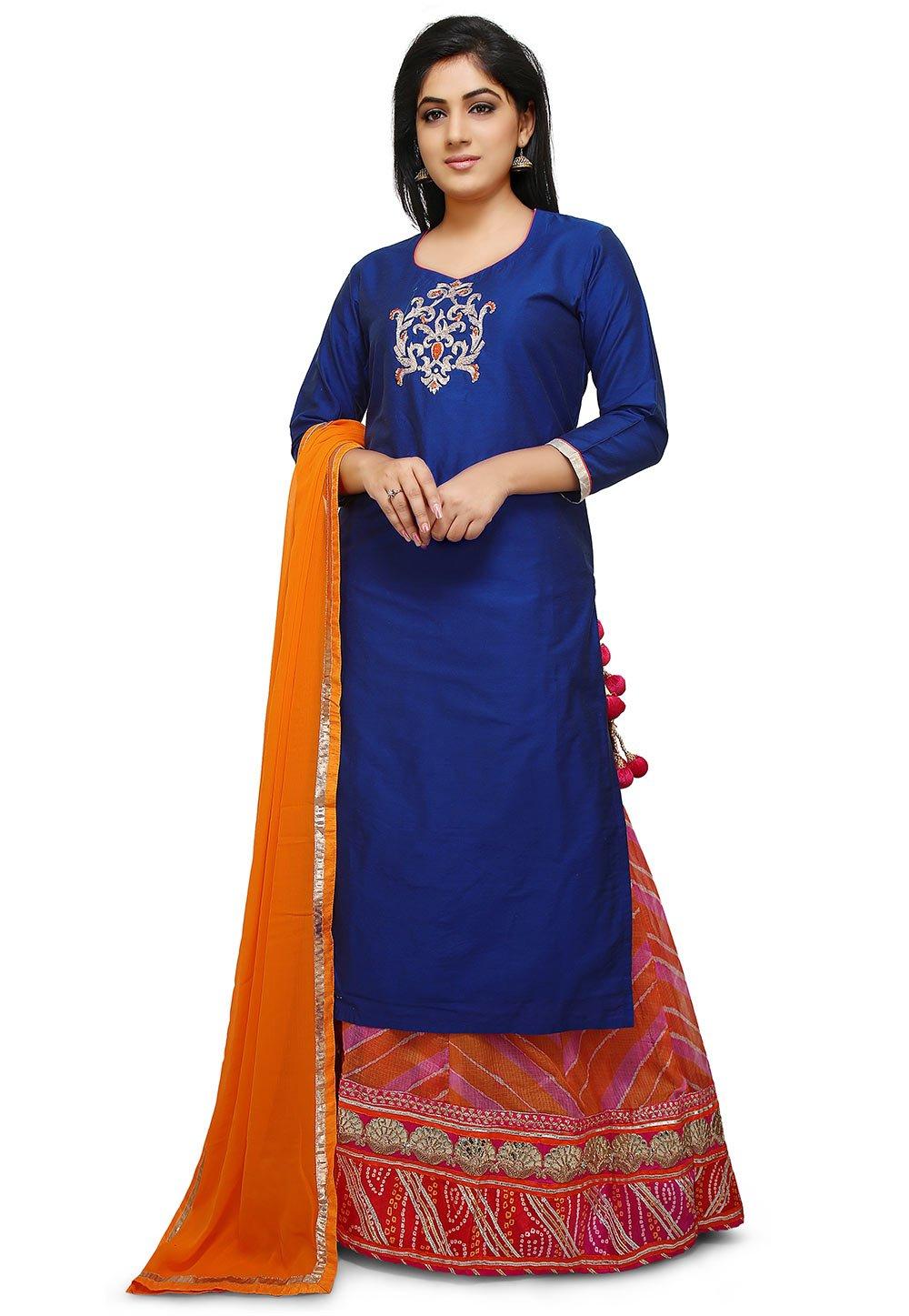 Utsav Fashion Embroidered Cotton Silk Lehenga in Royal Blue