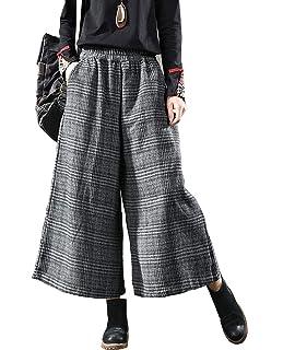73c172267b Aeneontrue Women's Fall Winter Wool Check Wide Leg Pants Casual Capri  Culottes Pants with Elastic Waist