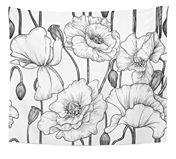 Amazon Emvency Tapestry Print Flower Of Black And White Poppies