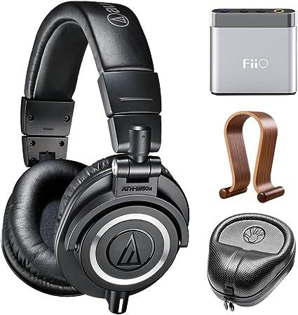 Audio Technica Cuffie professionali da studio (ATH M50x) con amplificatore, amplificatore portatile FiiO A1, custodia rigida Slappa e supporto