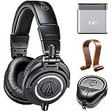 Audio-Technica Professional Studio Headphones-Black (ATH-M50x) w/ Amplifier Bundle Includes, FiiO A1 Portable Headphone Amplifier, Slappa HardBody Headphone Case And Universal Wood Headphone Stand