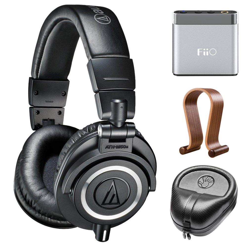 Audio-Technica Professional Studio Headphones-Black (ATH-M50x) w/Amplifier Bundle Includes, FiiO A1 Portable Headphone Amplifier, Slappa HardBody Headphone Case and Universal Wood Headphone Stand