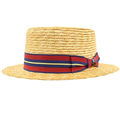 05f8201a Image Unavailable. Image not available for. Color: Unisex Maize Straw Stripe  Band Porkpie Boater Derby Fedora Sun Hat ...