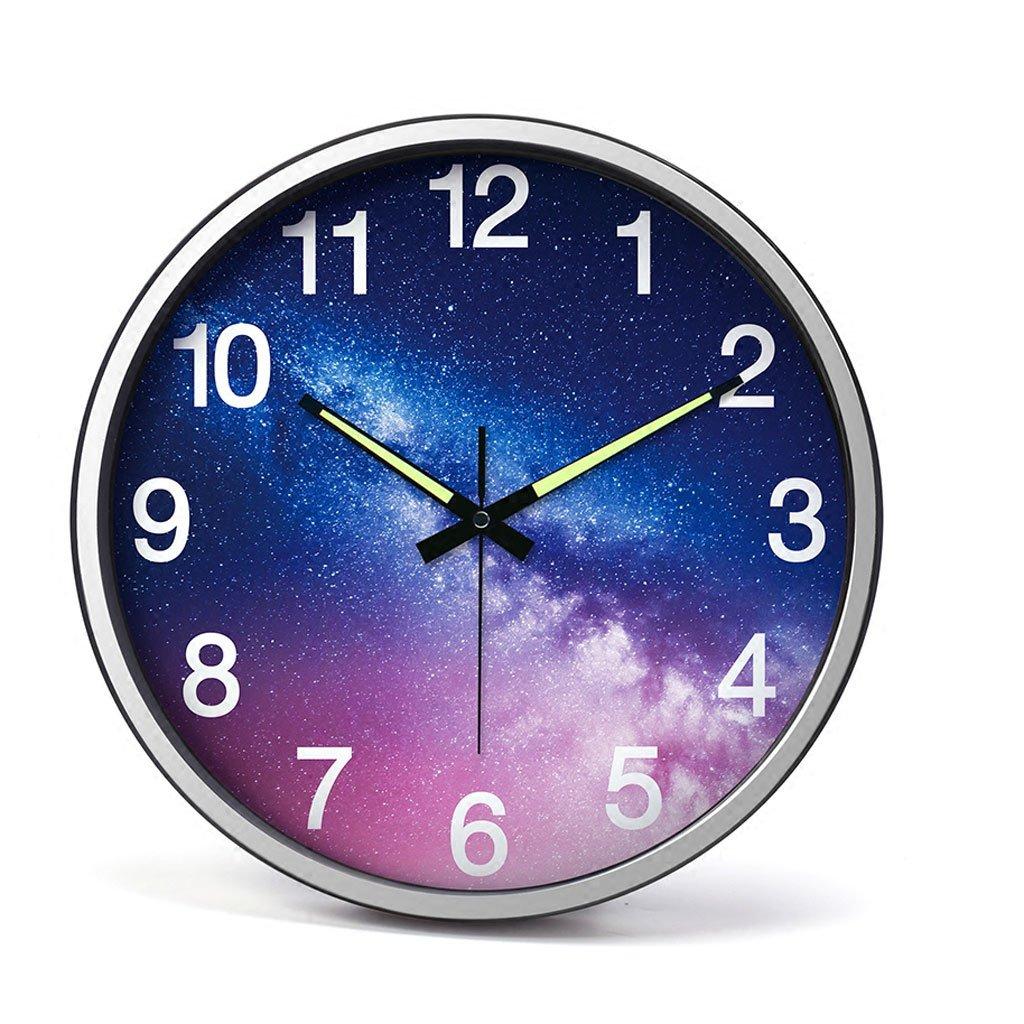ウォールクロックリビングルームクリエイティブなパーソナリティ強いナイトライトデジタルクロックミュートベッドルームメタル大きな壁時計14インチウォールチャート (色 : シルバー しるば゜) B07F9VBGVBシルバー しるば゜