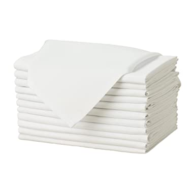 Remedios Set of 12 Oversized 17x17 Polyester Cloth Napkins Wedding Restaurant Banquet Home Dinner, Ivory