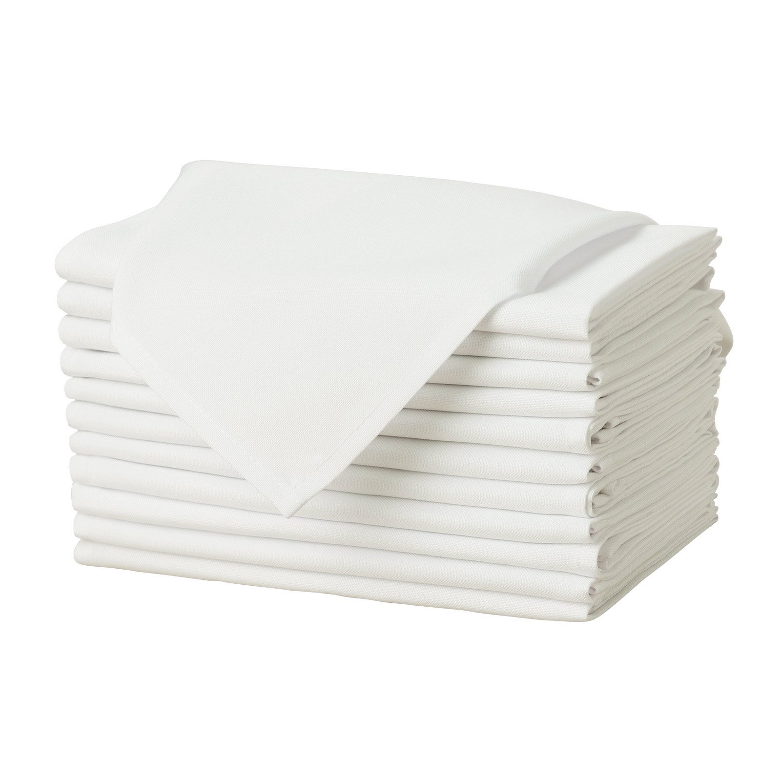 Remedios Set of 12 Oversized 20x20 Polyester Cloth Napkins Wedding Restaurant Banquet Home Dinner, Ivory