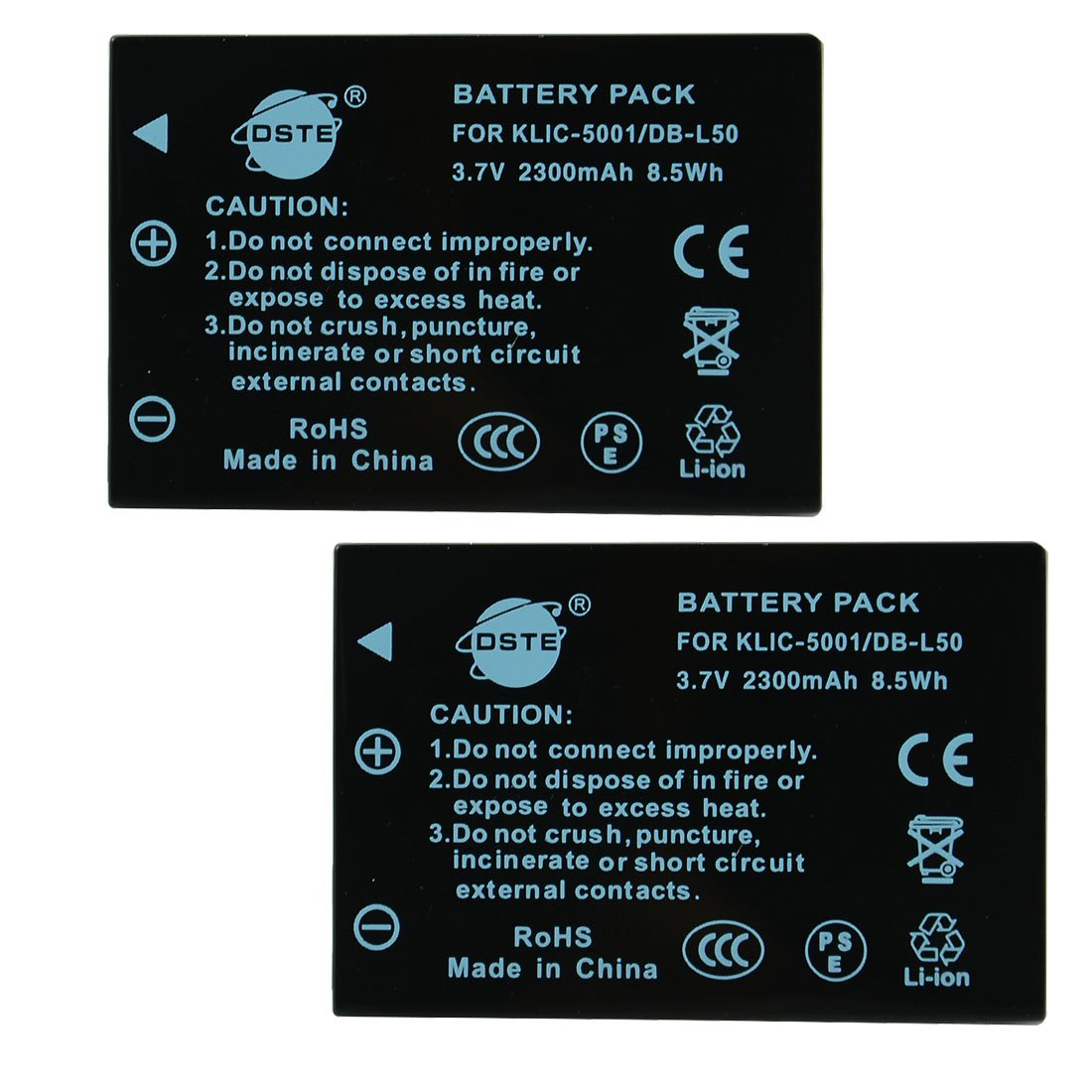 2 x Ex-Pro Battery KLIC-5001 for Kodak Easyshare Z7590 P850 P880 P712 DX7590