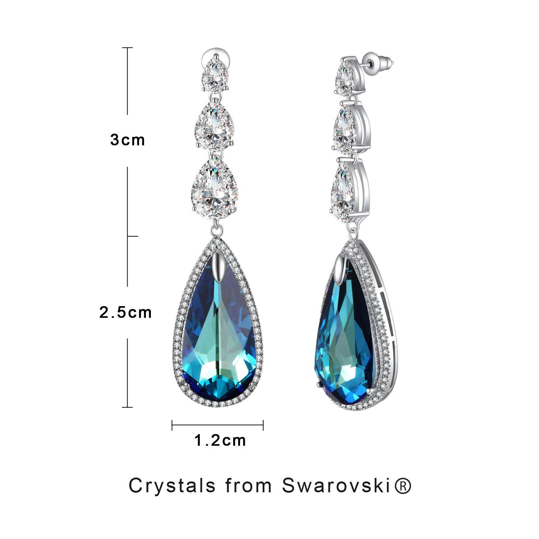420de6901 Amazon.com: Crystal Earrings For Women PLATO H Love Teardrop Earrings, Blue  Crystal Drop Earrings, Women Fashion Water Drop Earrings Made With Swarovski  ...