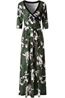 KRANDA Women's Paris Bohemian 3/4 Sleeve Faux Wrap Maxi Dress
